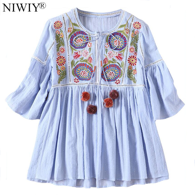 NIWIY Brand High end Flower Embroidered Womens Tops and Blouses Blusas Femininas 2019 National Style Ladies