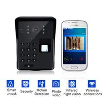 Wifi Video Door Phone Smart Wireless Doorbell RFID Password Door Phone Intercom Fingerprint Unlock Mobile Video Doorbell cheap VRUNIQUE TELEPHONE CMOS Depends on your phone Color Wall Mounting 5V 1A None 420 TV Line Fingerprint Recognition Digital
