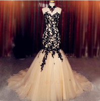 Vintage Vestido De Festa 2017 Newest Mermaid Evening Dresses Black Appliques Formal Gowns Tulle Halter Backless