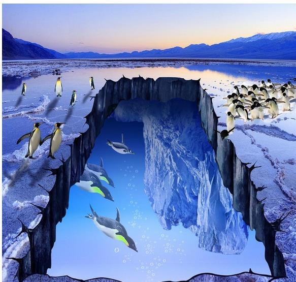 Custom Photo Floor Wallpaper 3D Stereoscopic Glacier Ice Penguins 3d Mural PVC 20156893 In Wallpapers From Home Improvement On Aliexpress