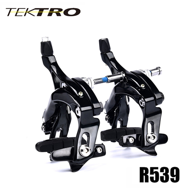 TEKTRO Road Bike R539 C 브레이크 캘리퍼스 경량 롱 암 브레이크, 퀵 릴리스 안전 잠금 장치가있는 빅 타이어 용으로 설계된 320 그램/짝