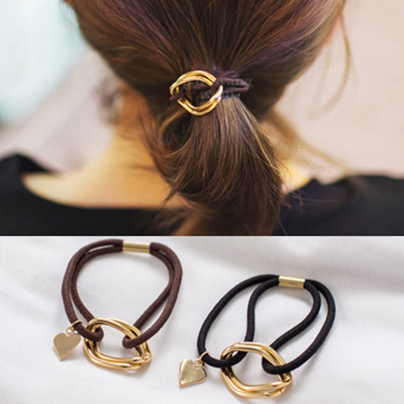 South Korean style hair bands A serial type love metal pendant sinews Elegant and lovely for white-collar workers and students