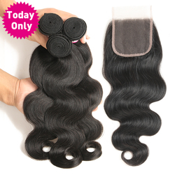 [TODAY ONLY] Peruvian Body Wave 3 Bundles With Closure 100% Human Hair Bundles Lace Closure With Baby Hair Non Remy Hair Weave