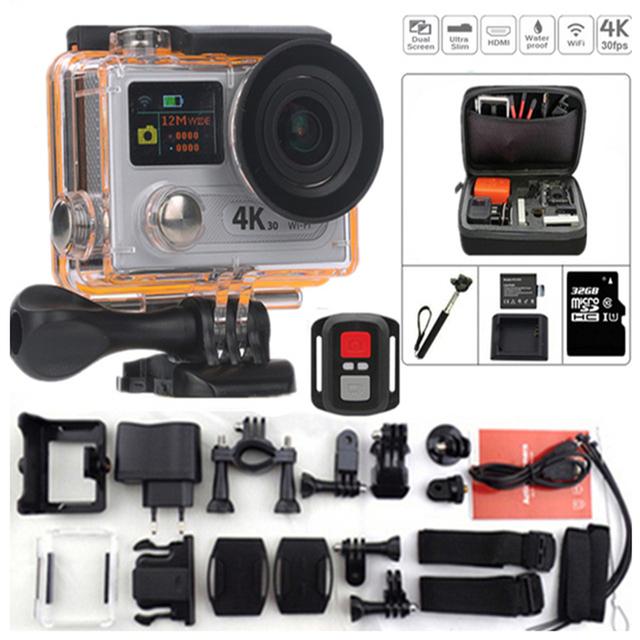 Câmera de Ação Original H8R 25fps câmera à prova d' água esportes DV 4 k ultra hd Dual Screen controle remoto ir pro estilo esportes câmera