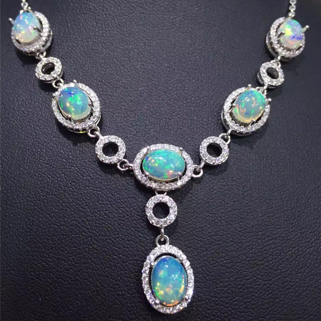 Super luxurious opal necklace pendant natural Australia firework opal platinum plated 925 solid silver necklace gift for wife