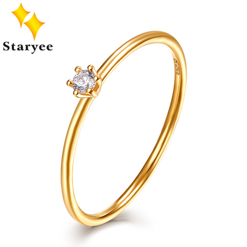 STARYEE Certified Natural de Noivado de Diamante Anéis 0.05CT VS H k Au750 EX 18 Sólida Ouro Amarelo Elegante da Jóia Do Casamento Para mulheres