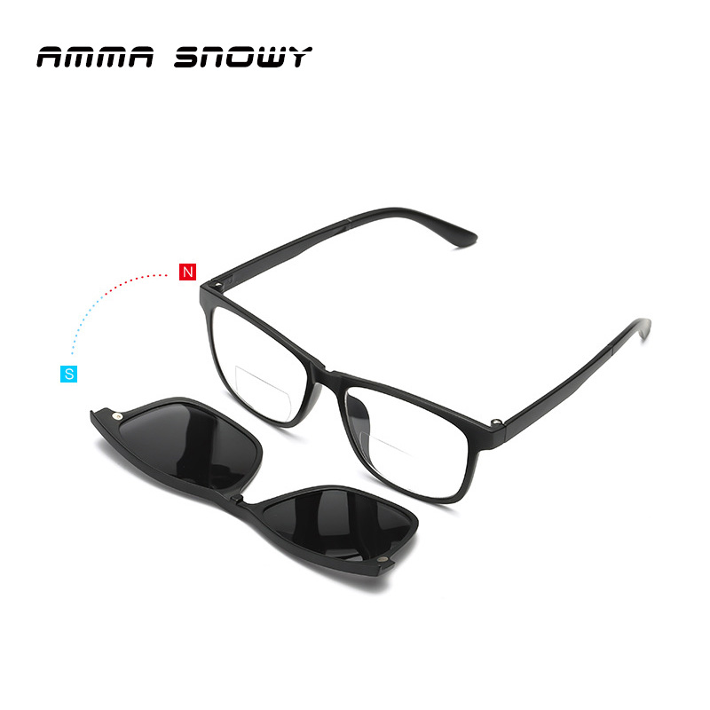 38869c5c40f AMMA SNOWY New Bifocal Reading Glasses Magnet Polarized Sunglasses Men  Square Diopter Glasses Male Presbyopic Sun Glasses AS043