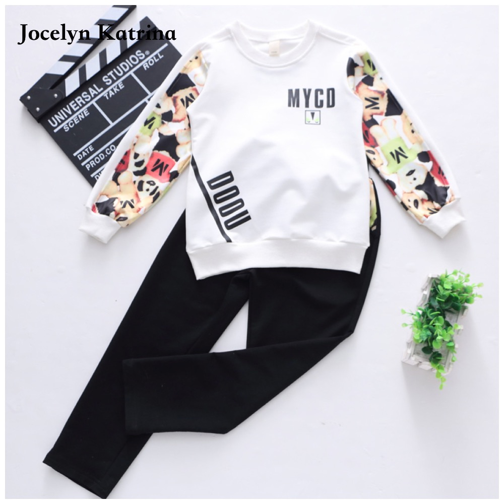 Girls Clothing Sets Fashion Long Sleeve T-Shirts + pants 2 Pcs Tracksuits Casual Kids Sports Suits For Girl Children Clothing kids girls summer 2014 new o neck short sleeve floral sports suits fashion print cartoon clothing sets t shirts and pants h2691