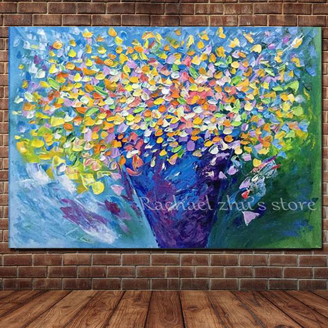 New arrival hand painted abstract flower oil paintings on for Tele astratte dipinte a mano