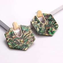2019 New Design Polygonal Acrylic Resin Dangle Earring For Women Colorful Abalone Shell Geometry Statement Earring Jewelry(China)