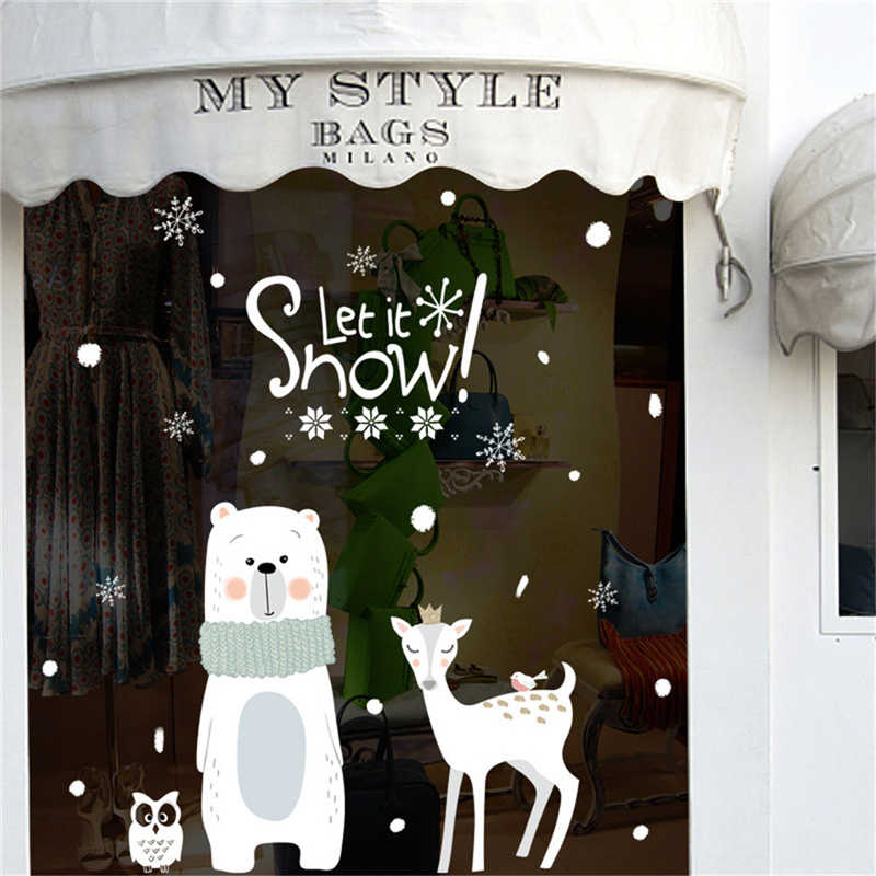Image 3 - 2019 Cartoon Santa Claus Wall Stickers Wall Art Removable Home Decal Party Decor Merry Christmas Window Film Stickers-in Wall Stickers from Home & Garden