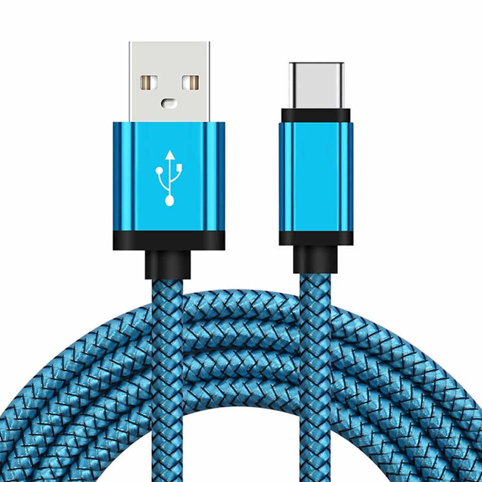 USB نوع C كابل شحن سامسونج غالاكسي S8 S9 A8 2018 A80 A50 A5 A7 2017 1/2/3 متر طويلة الهاتف المحمول شاحن قصيرة حبال