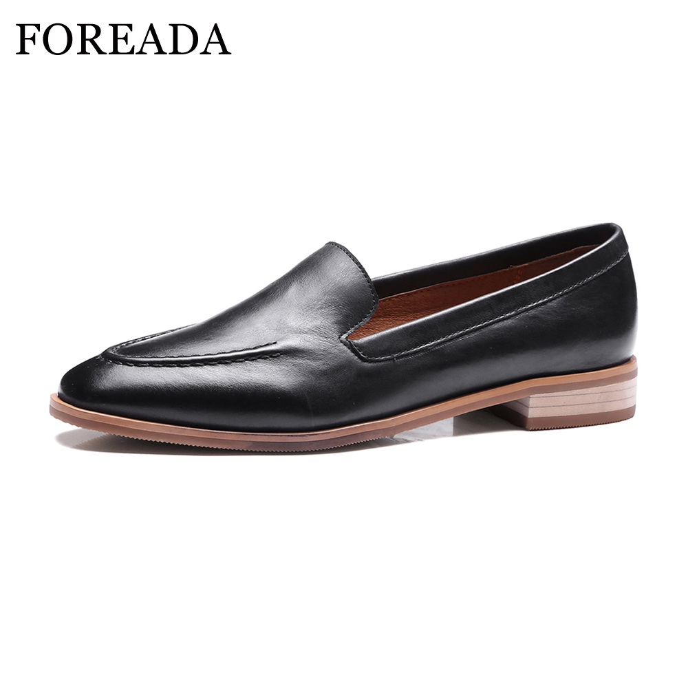 FOREADA Shoes Women Oxford Genuine Leather Flats Square Toe Autumn Casual Women Flat Shoes Loafers Size 33-40 Sapato Feminino