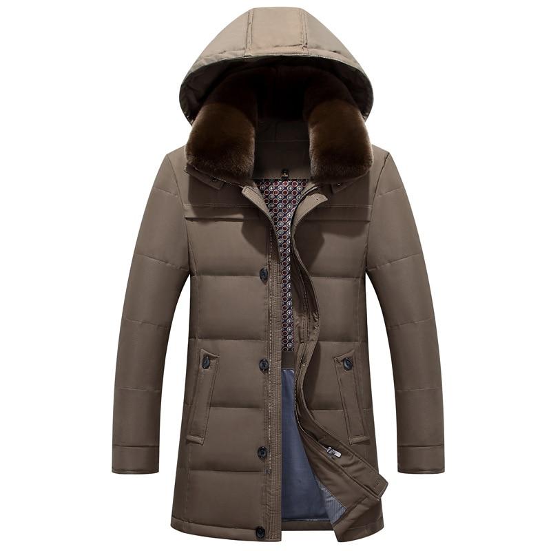 Vente chaude nouveau mode 2018 hommes hiver duvet de canard manteau de longue veste chaud parkas à capuchon bleu plus oversize 4xl