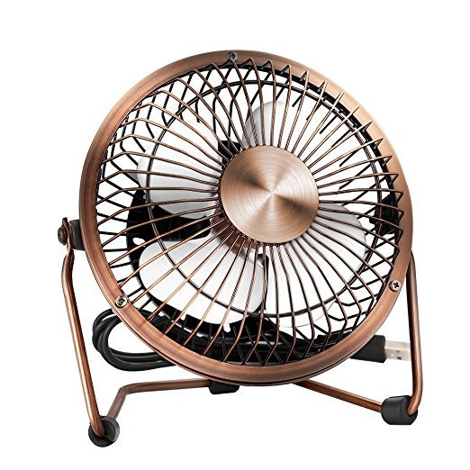 Mini High Compatibility USB Table Desktop Personal Fan Metal Design Antique Quiet Operation 4 feet USB