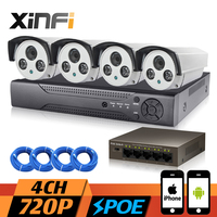 XINFI 4CH POE CCTV System 1080P NVR Network Video Recorder 720P HD Home Security Poe Camera