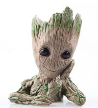 Baby Flowerpot Guardians of the Galaxy Tree Man Baby Pen Pot Flowerpot Marvel Action Figure Decoration Home Collection Model Toy tree man hands up phoneholder action figure guardians of the galaxy 2 model pen pot and flower pot toy groot