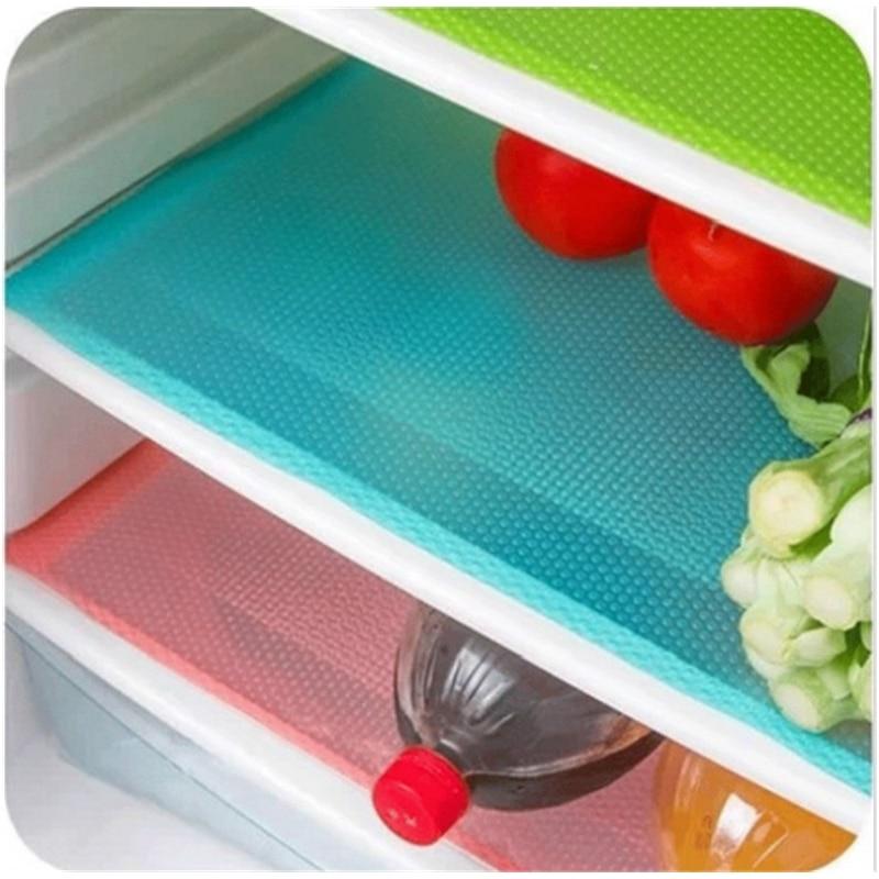 4pcs/set Refrigerator Cabinet Pad Antibacterial Antifouling  Mildew Moisture Tailorable Pad Refrigerator Mats Fridge WaterproofMats