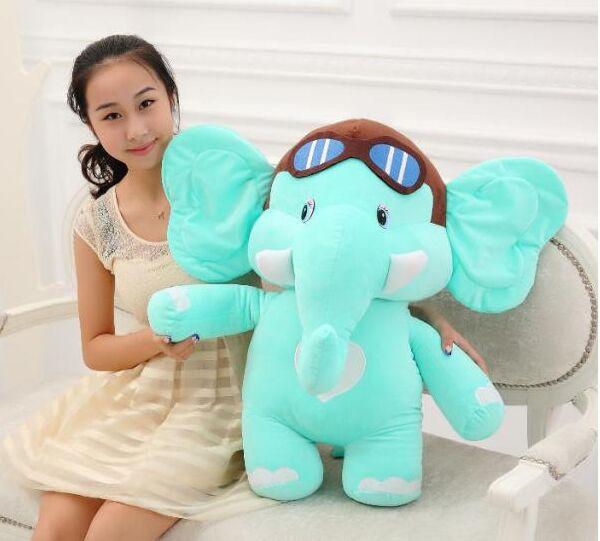Jouet éléphant en peluche grande taille joli dessin animé bleu poupée éléphant volant cadeau environ 75 cm