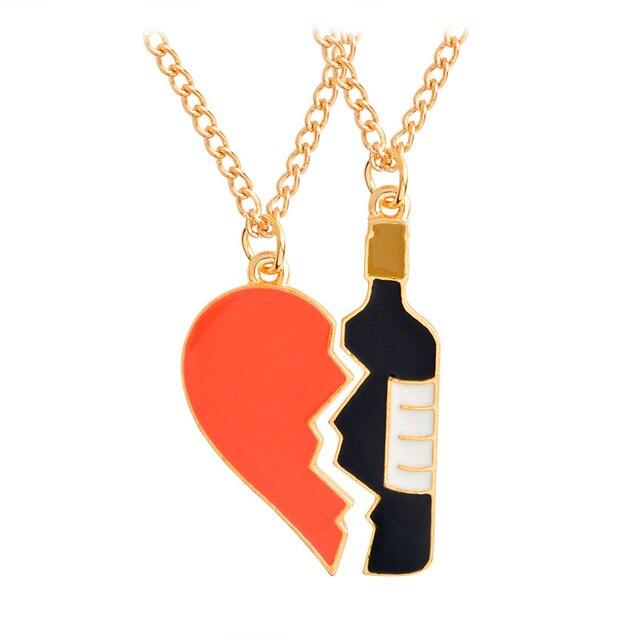2pcs/set Best friends lovers half heart wine bottle Pendant Necklaces BFF Friend