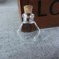 new arrvial 50set 20x25x12mm clear glass bottle wishing vial necklace pendant charms & cork & eyehooks for diy findings