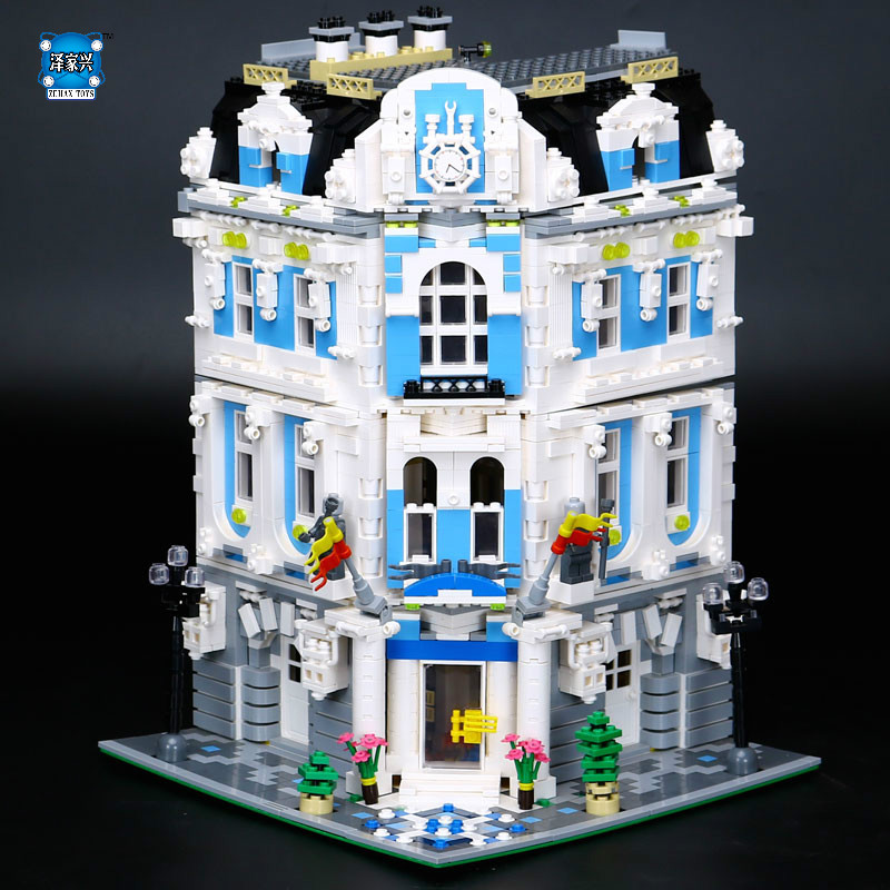 Hot 3196pcs MOC City Series The Sunshine Hotel Set Lepins Building Blocks Bricks Educational Toys Funny Children Gifts hot city series aviation private aircraft lepins building block crew passenger figures airplane cars bricks toys for kids gifts