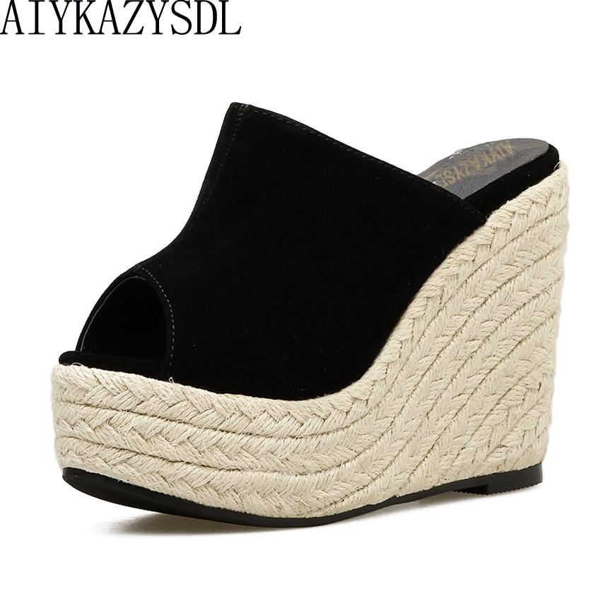AIYKAZYSDL 2018 New Summer Platform Wedges Sandals Cane Hemp Rope Straw Shoes Espadrilles Silppers Mule Slide Ultra High Heels