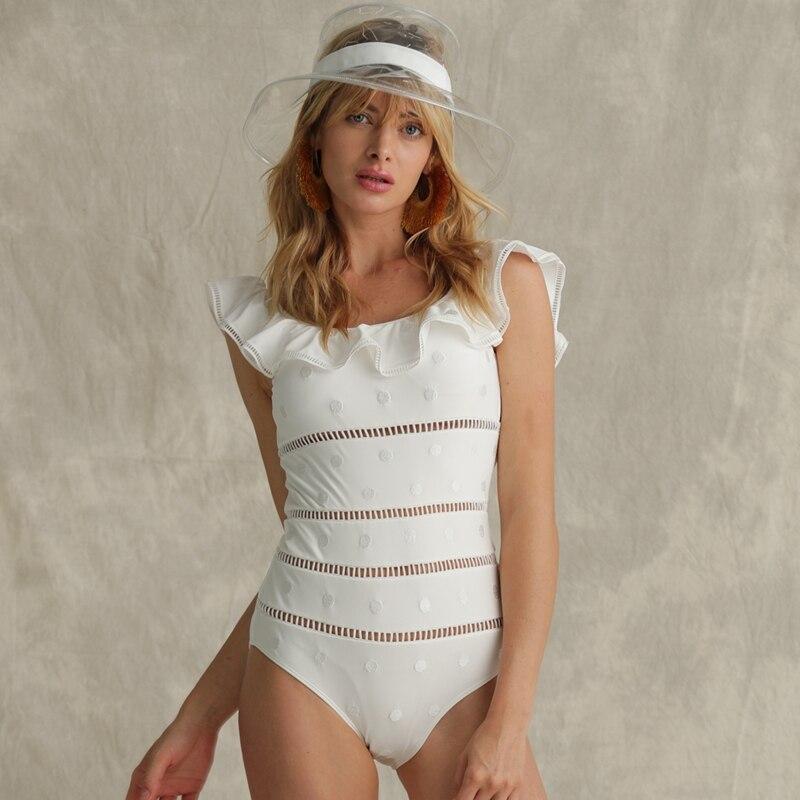 Однотонная одежда для девушек, сексуальный цельный купальник с оборками, Ретро стиль, Женский Монокини, купальник на бретелях, винтажный Ку... - 2