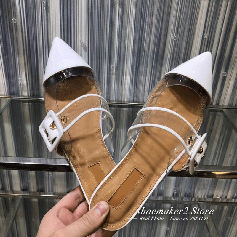 blanco Zapatos Punta Rosa Toe Pvc Negro Manera Muller Mujeres rosado Blanco La Mujer Beige Sandalias Pisos Gladiador 2018 Patchwork De negro YfRqwqI