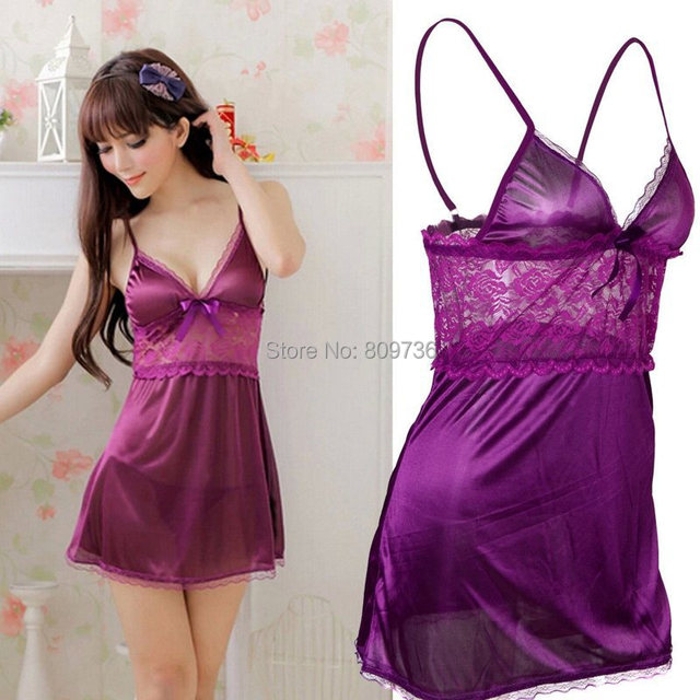 Hot Sexy Women Satin Lace Robe Sleepwear Lingerie Nightdress G-string Pajamas 4 Colors Free Ship