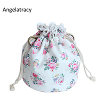 Angelatracy Rose Women Bag White Bucket Rose Print Shoulder Bags Floral Women Mini Handbag Lady Coin Purse String Pastoral Pink