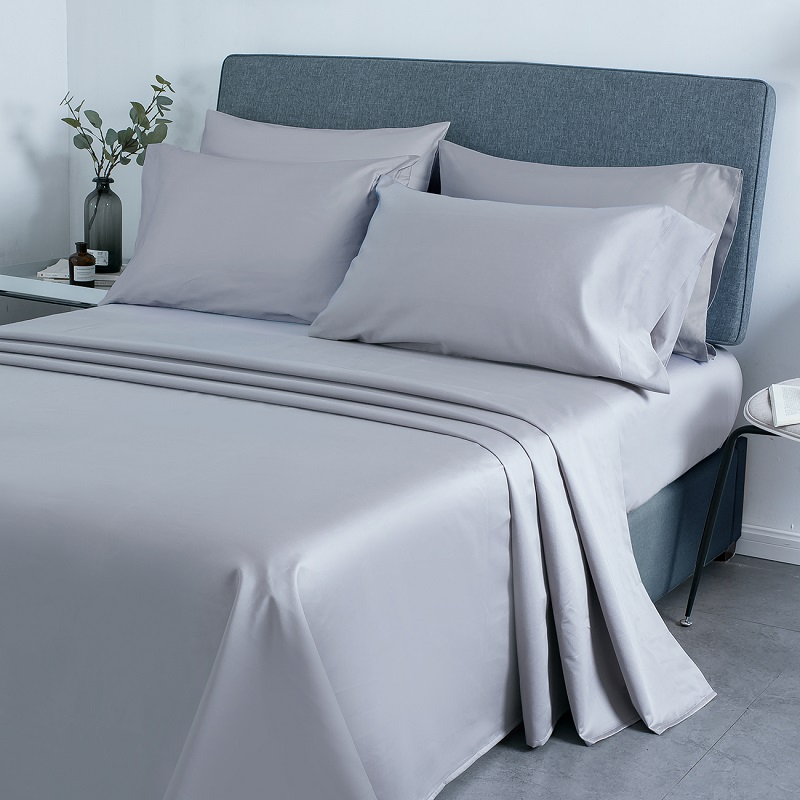 PHF 800 Thread Count Egyptian Cotton Sheet Set Satin Weave Deep Pocket Cozy Durable Wrinkle Resistant 4 Pieces King Size Grey image