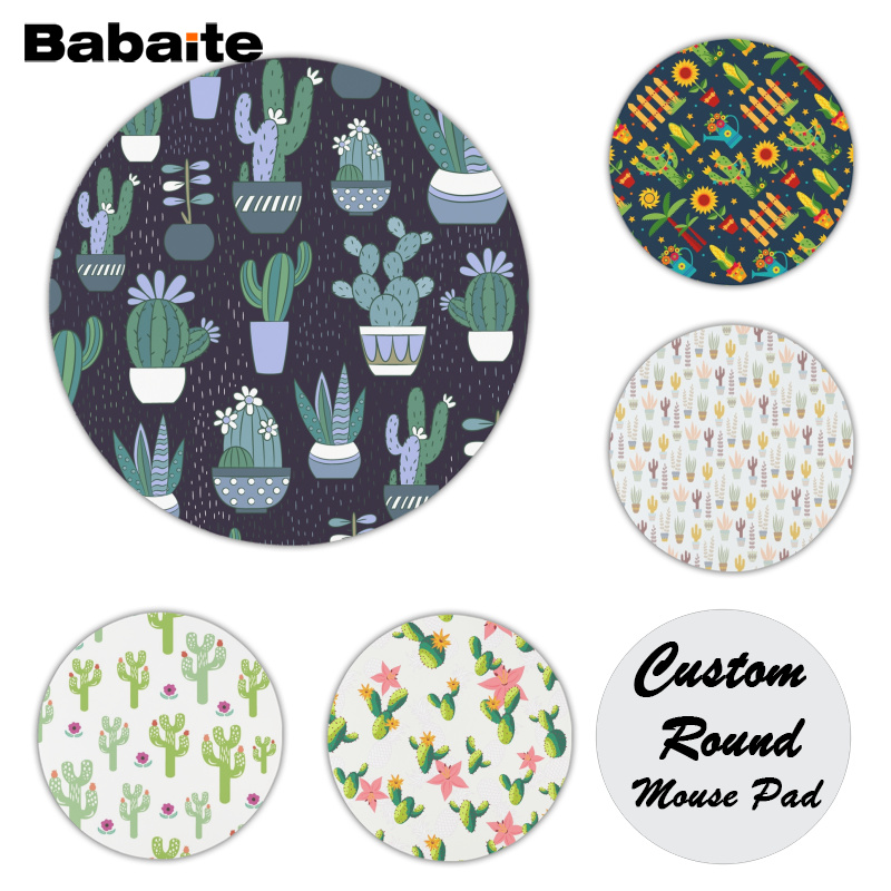 Babaite Cool New Cactus and Flowers Comfort Mouse Mat Gaming Mousepad Size for 20x20cm 22x22cm Rubber Mousemats