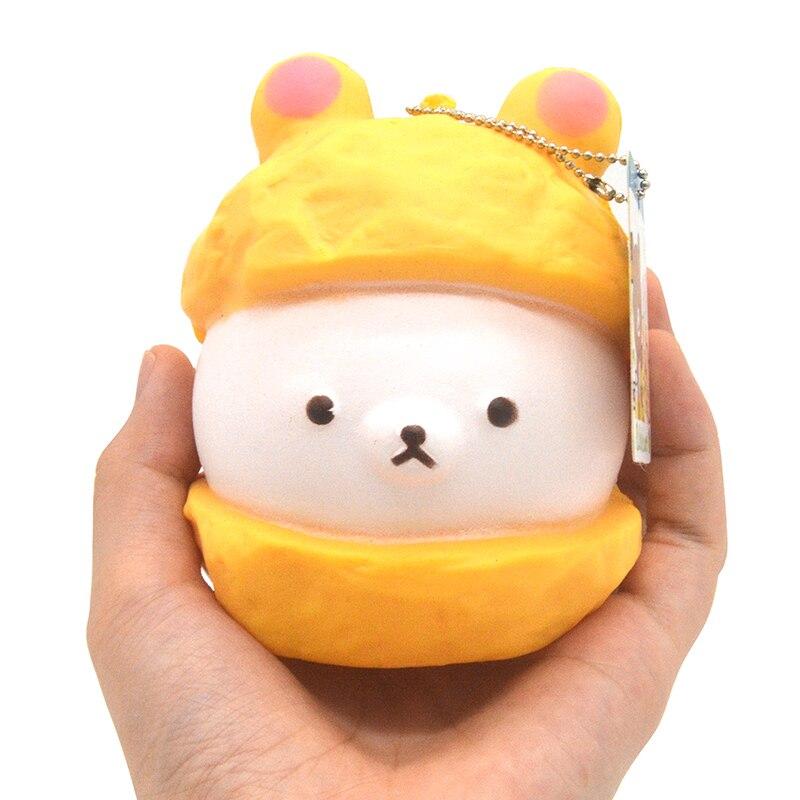 20PCS lots Kawaii Jumbo Cap Rilakkuma Squishy Doll Cartoon Bread Scented Ballchain with Tag Kid Toy