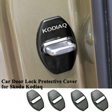 4pcs/set Styling Stainless Steel Car Door Lock Cover Buckle Caps Protector Decoration Logo Car Accessories for VW Skoda Kodiaq