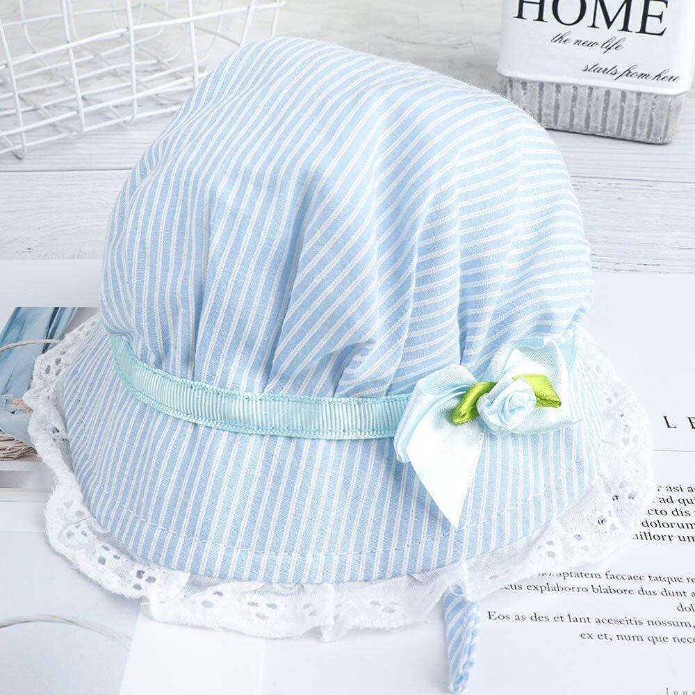 Summer Lace Baby Girls Cotton Flower Stripe Cap Cute Flower Sun Visor Bucket Hat
