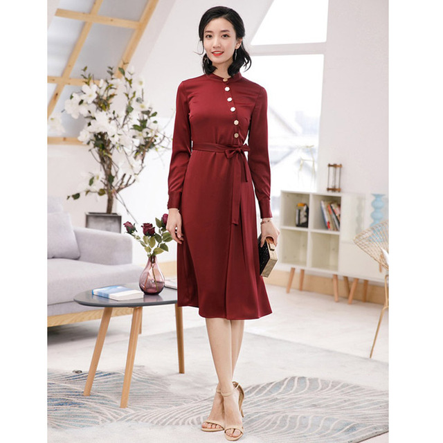 7183dcad5 oblique button closure tie belt long sleeve midi women's shirt dresses  burgundy / navy work dress for office free shipping