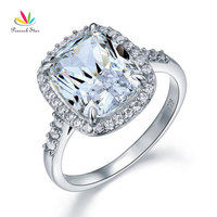 Peacock Star Solid 925 Sterling Silver Luxury Ring 6 Ct Cushion Created Diamante Jewelry CFR8149