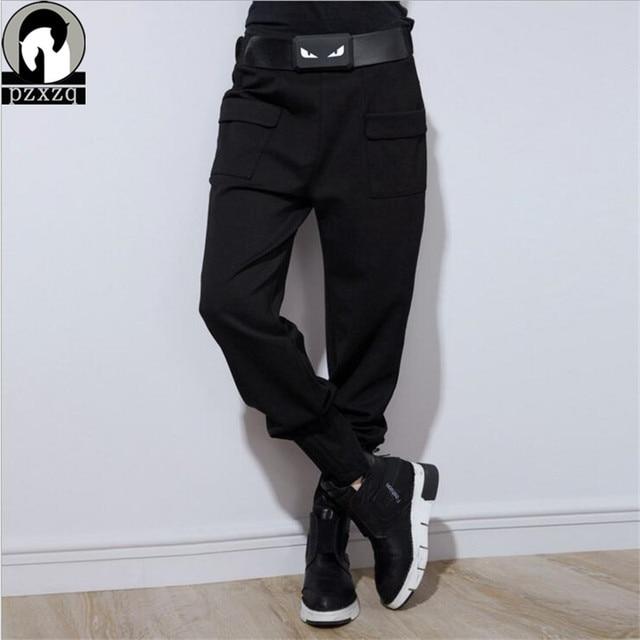 With Belt 2019 Winter Design Brand Harem Pants Stretch Mid Waist Pencil Long Trousers Black Hip Hop Street Wear Sweatpants