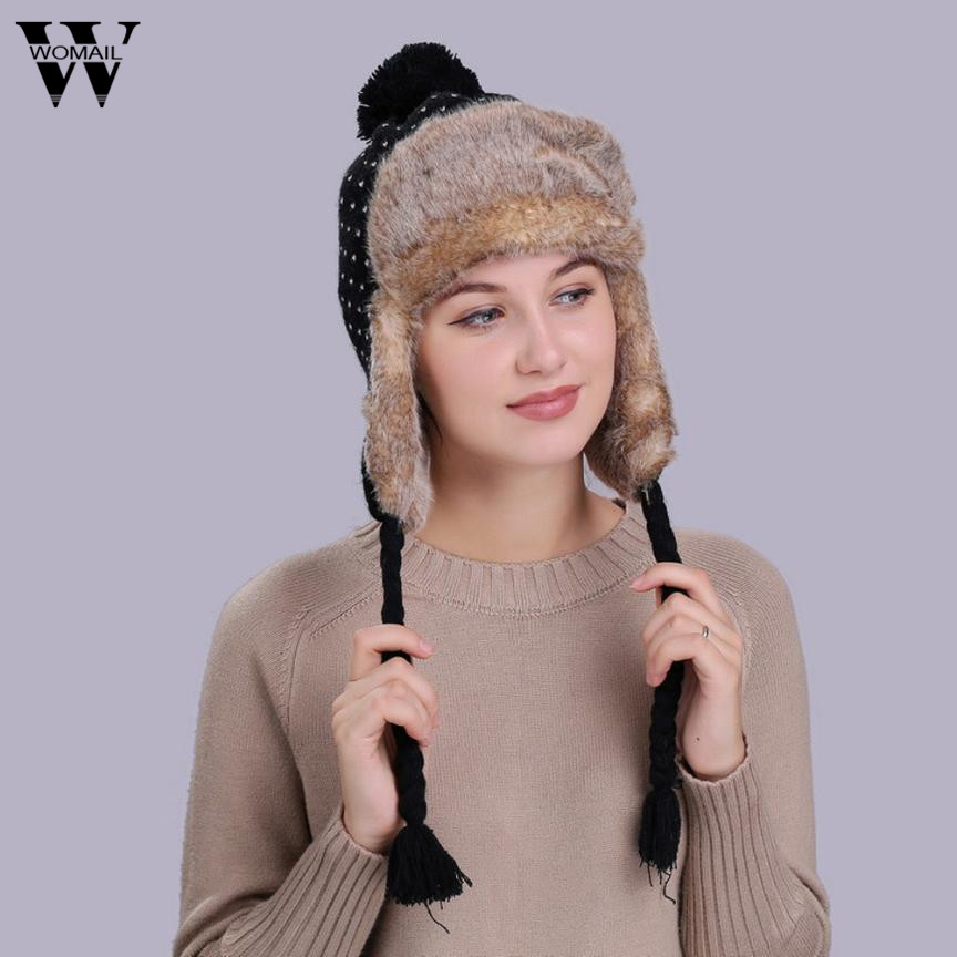fe6b1d7bcf0198 1Pcs Warm Women Winter Hat with Ear Flaps Snow Ski Thick Plush Knit Wool  Beanie Cap for Lady Female-in Skullies & Beanies from Apparel Accessories  on ...