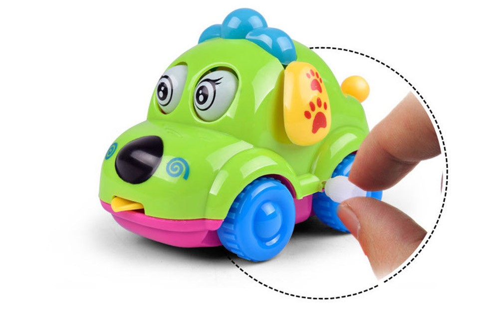 Cute Cartoon Animal Dog Wind Up Toys Running Car Clockwork Classic Toy Newborn Spring Toy Random Color 6
