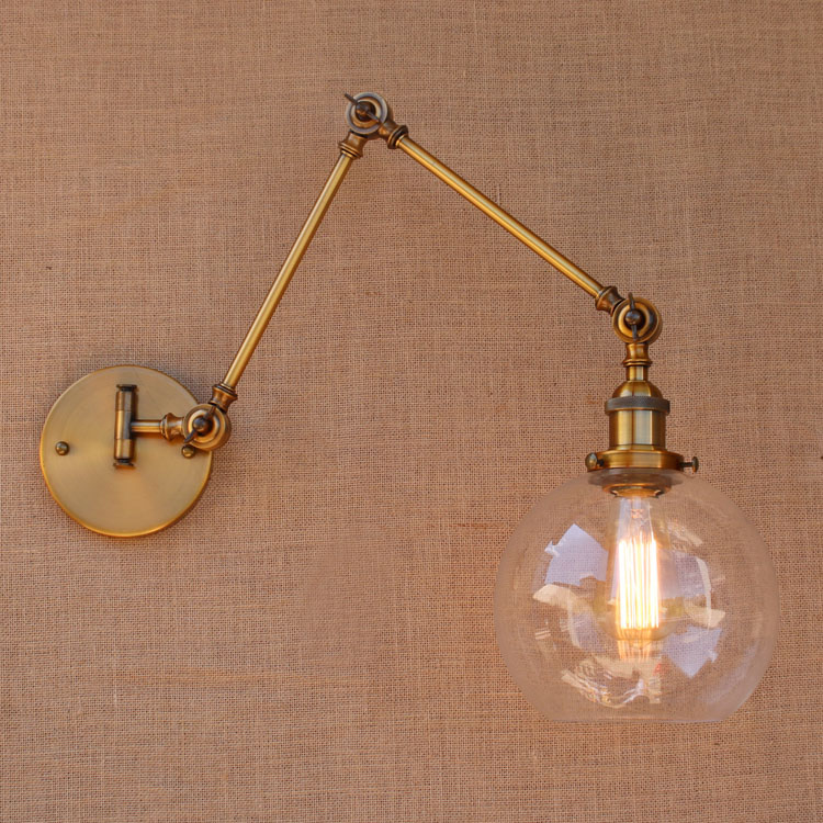 Glass Brass Adjustable Long Arm Wall Light Vintage Edison Loft Style - Indoor Lighting - Photo 6