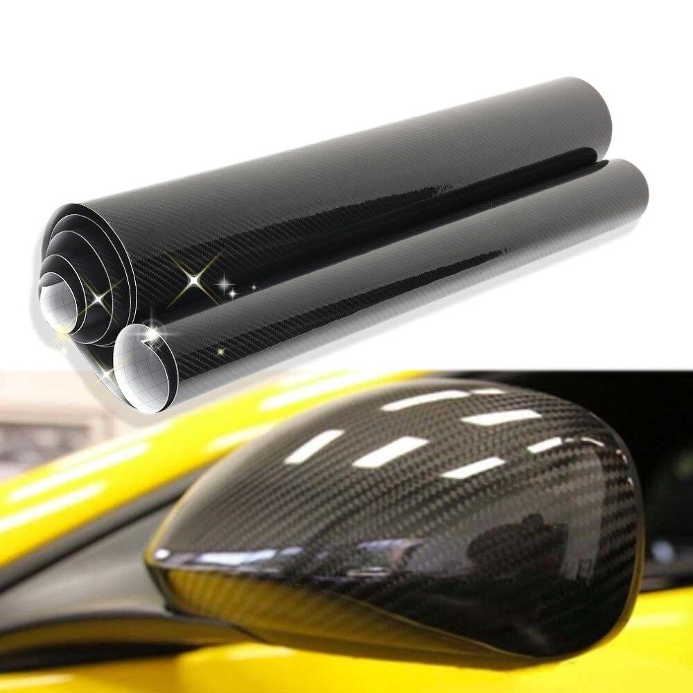 30/60 * 152cm 5D Noir En Fiber De Carbone Vinyle Film Wrap Film Autocollant De Voiture Automatique Extérieur Accessoires Film