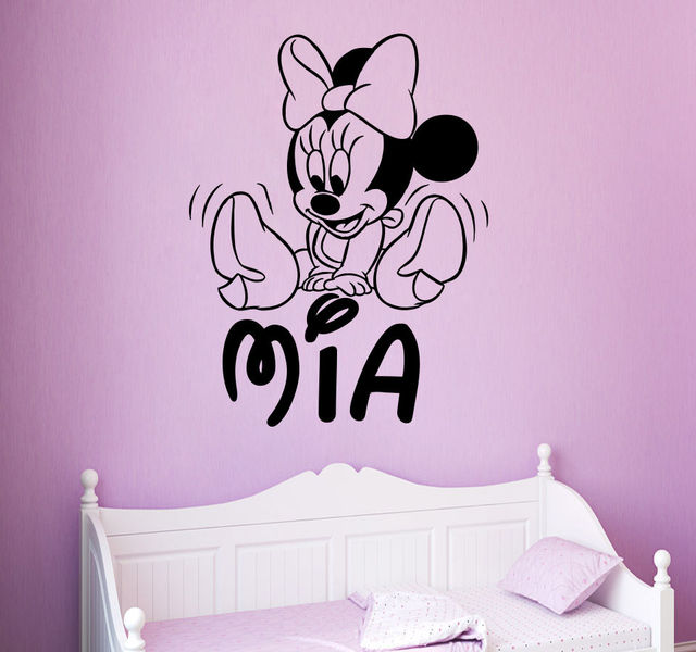 Mickey Mouse Wall Decals Personalized Name Girl Decal Nursery Room Decor  Free Shipping