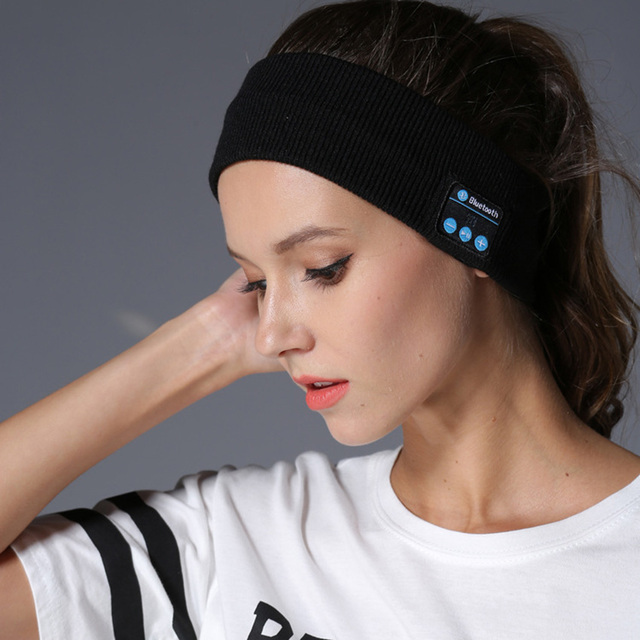 Aimitek Bluetooth Hoofdtelefoon Draadloze Hoofdband Sport Headsets Yoga handsfree Oortelefoon Zachte Warme Hoed Smart Cap met Microfoon