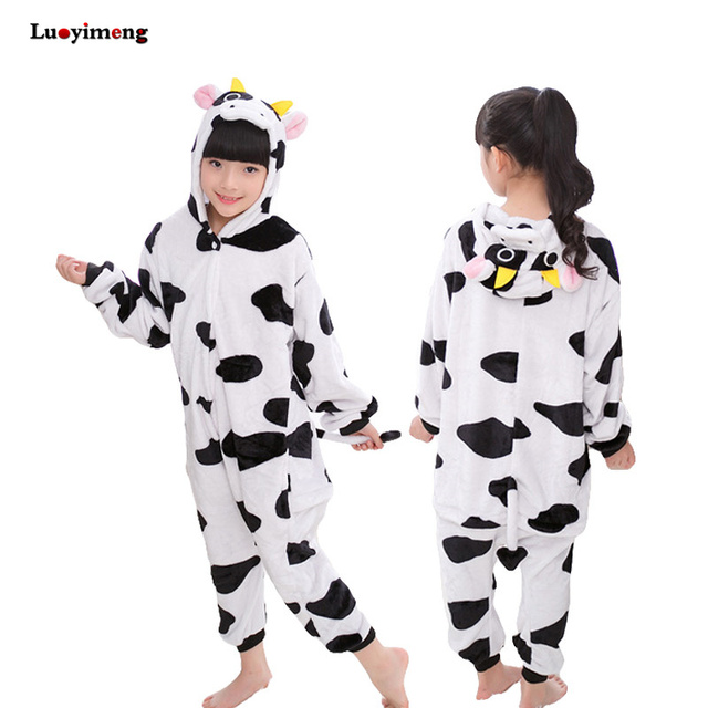 7293a9e4355b Cow Panda Unicorn Kigurumi Pajamas Flannel Pyjamas Kids Cosplay ...