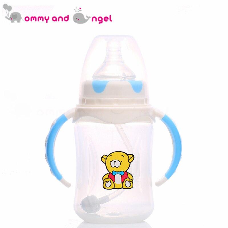 Мама и ангел 240 мл синий и розовый классический мальчик и девочка бутылочку для кормления BPA бесплатно кремния соски молочных бутылочку для ... ...