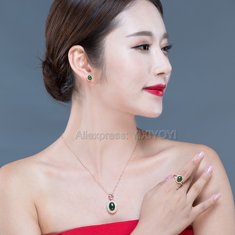 Beautiful 925 Silver Natural Green HeTian Jade Round Beads Inlay Lucky Pendant Neckl;ace Earring Ring Woman's Fine Jewelry Set