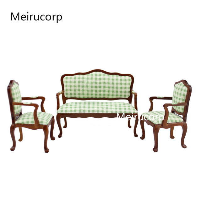 1/12 Scale Dollhouse Miniature Furniture Lattice Pattern Chair Sofa Set