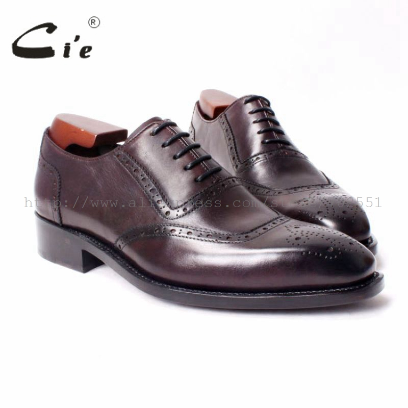 cie Free Shipping bespoke custom Handmade calf leather outsole Men's Lacing Brogue Shoe deep brown Goodyear Craft Oxford .OX292 стоимость